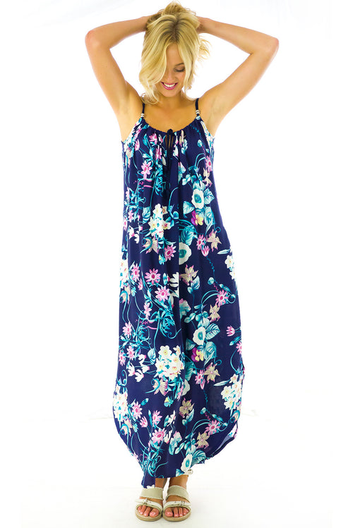 Havana Navy Vines Maxi Dress