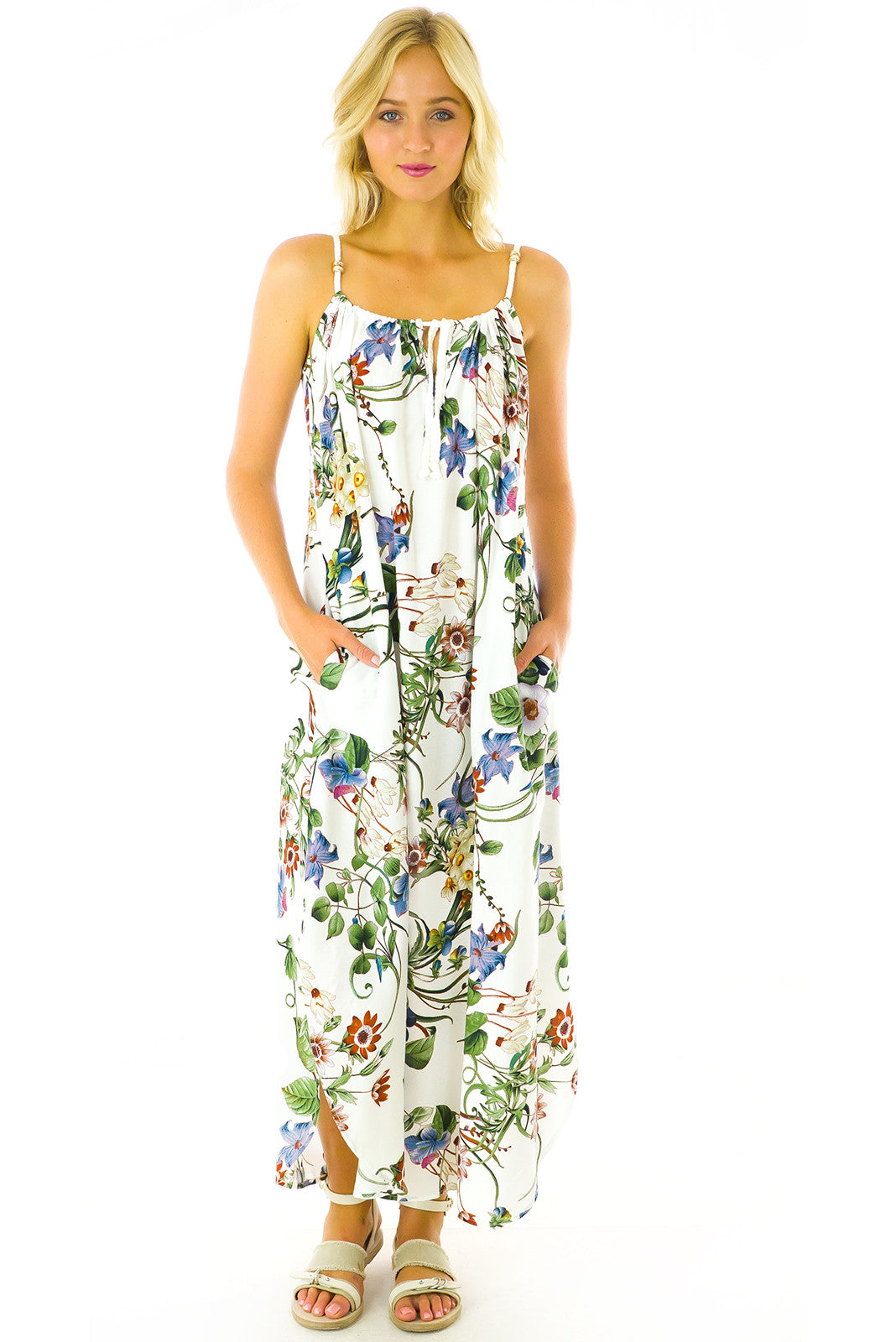 Havanna White Vines Maxi Dress