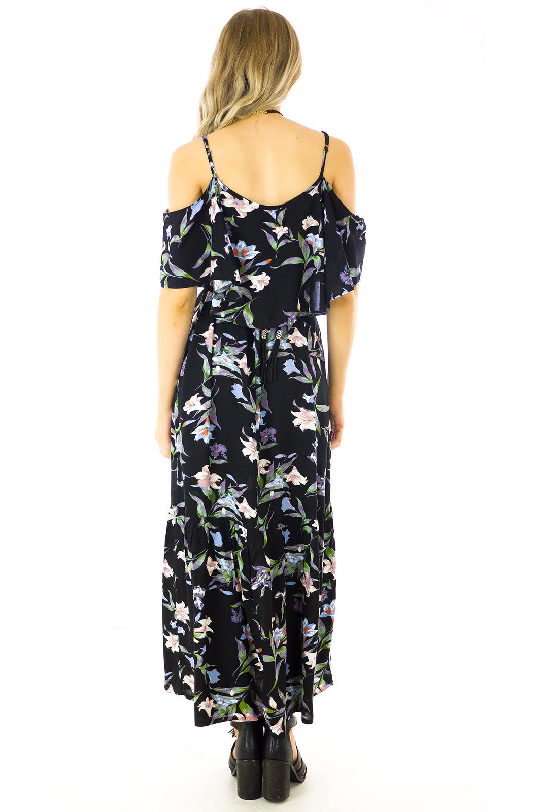 Jessie Maxi Dress Mystic Noir Floral print, cold shoulder style maxi dress floral print