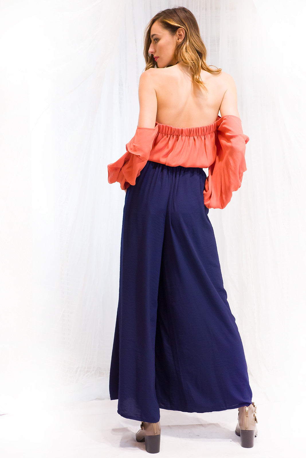 Milano Palazzo Wide Leg Pants in Navy, navy blue flare pants