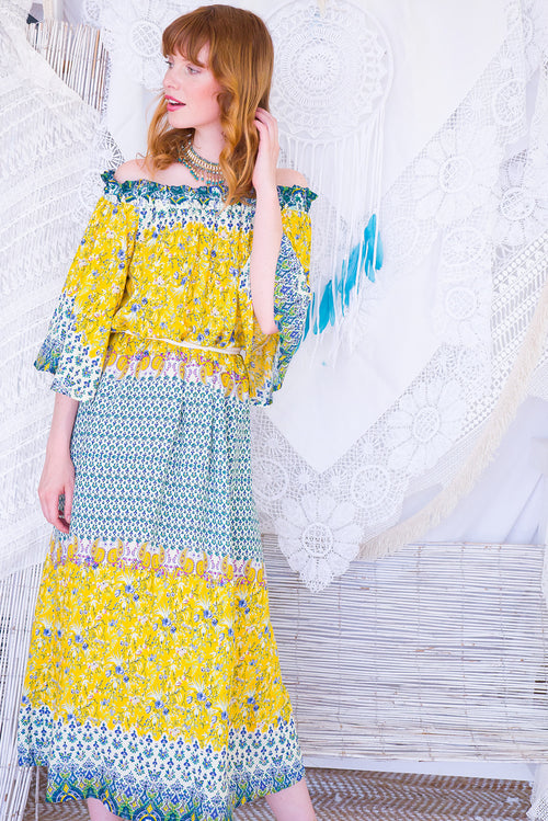 Mimosa Sunshine Maxi Dress off the shoulder