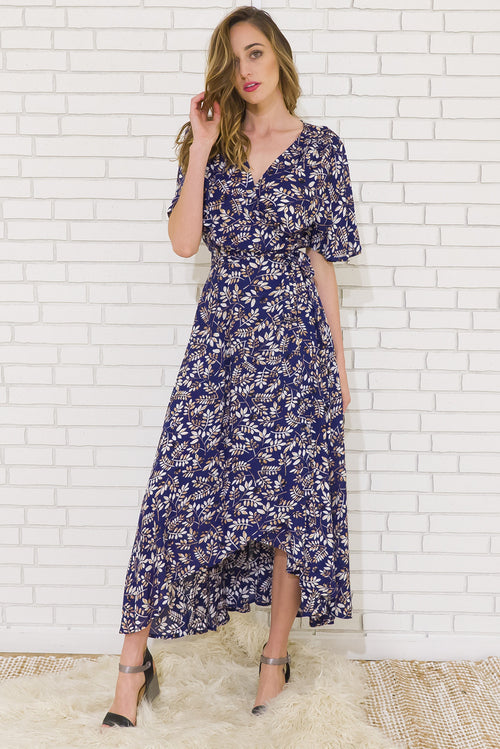 Musical Forest Blue Maxi Wrap Dress