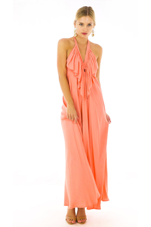 Belle Starr Maxi Dress Pastel Peach