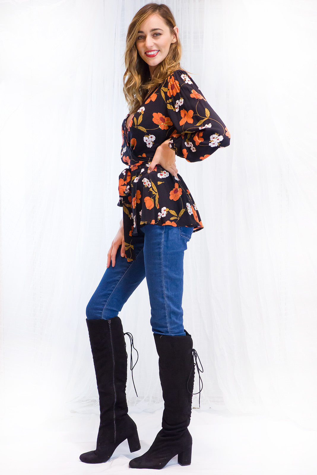 Petra Night Poppy Black and Red Print Wrap Top
