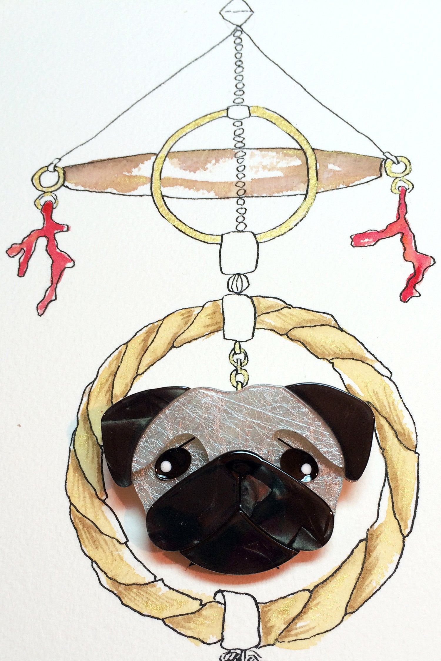 Pierre's Pug Life Erstwilder Brooch, fashion jewellery brooch, dog pin