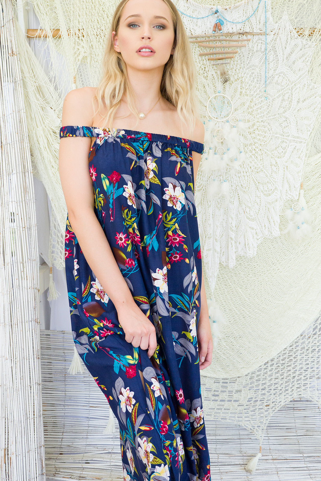 Pina Colada Jungle Maxi Dress, tropical print dress, off the shoulder dress, maxi dress