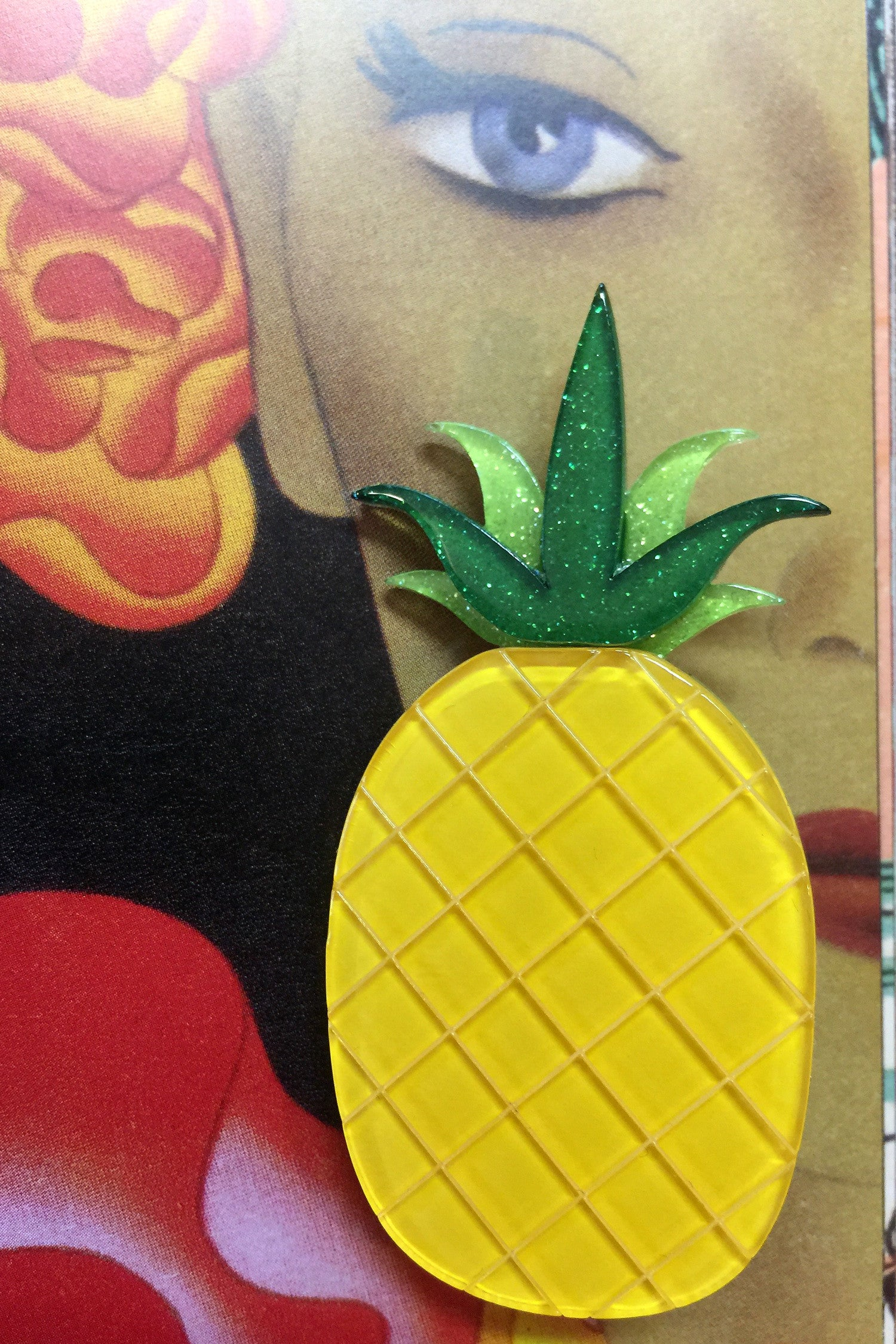Pineapple Express Erstwilder Brooch, aloha style brooch pin