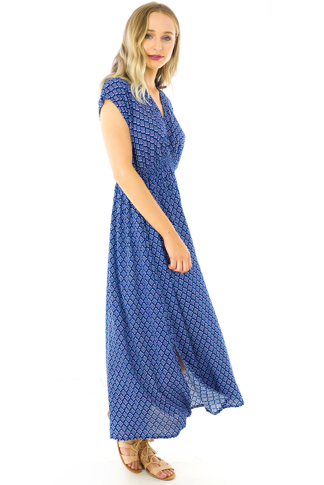 Stevie Winter Mist Maxi Dress in Navy
