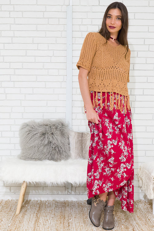 Winterberry Red Flowers Maxi Wrap Skirt