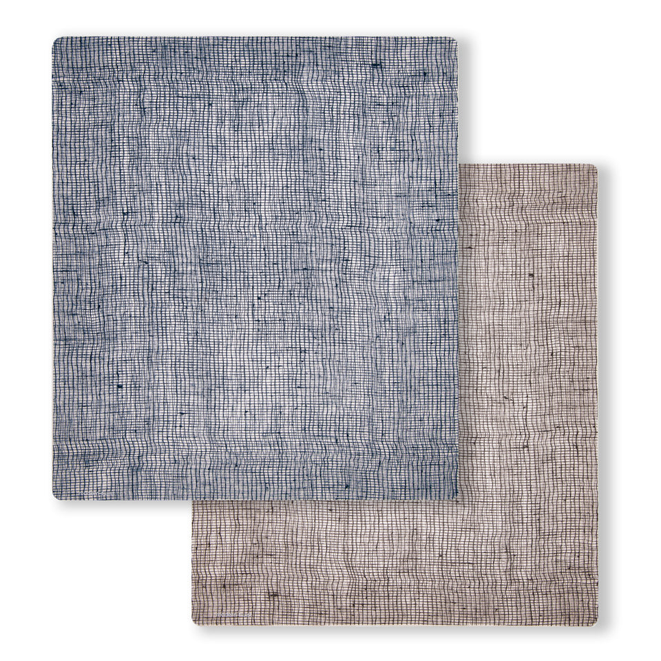 Accent Mat Set: Linen - Denim + Chocolate