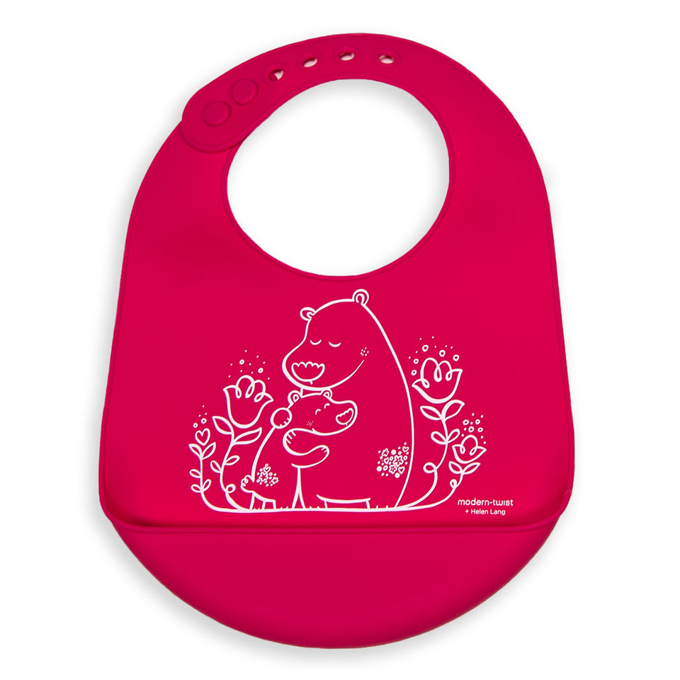 Bucket Bib : Bears - Berry Pink