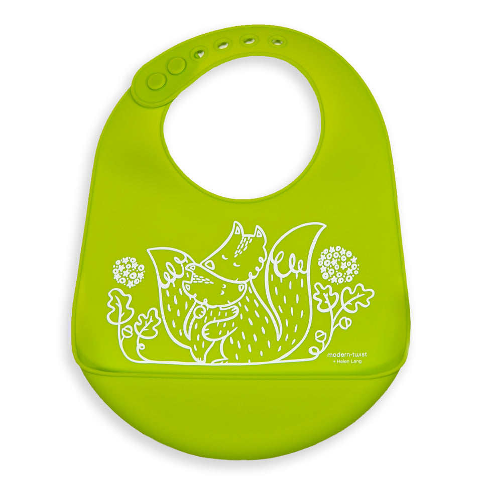 Bucket Bib : Foxes - Lime Green