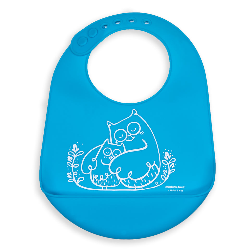 Bucket Bib : Owls - Electric Blue