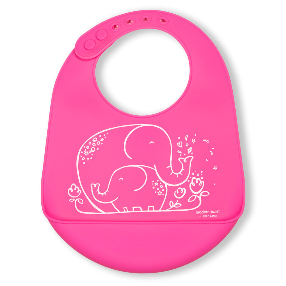 Bucket Bib : Elephant Hugs - Candy Pink