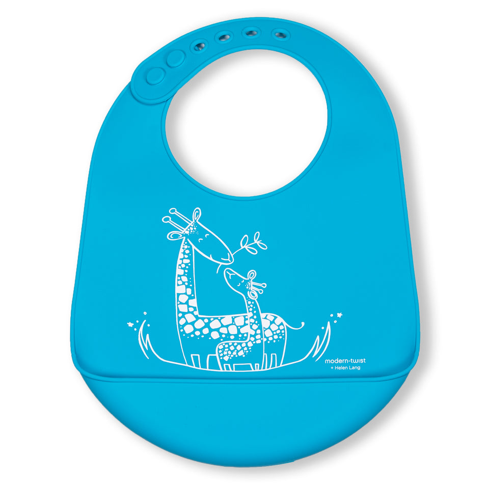 Bucket Bib : Giraffe Giggles - Electric Blue