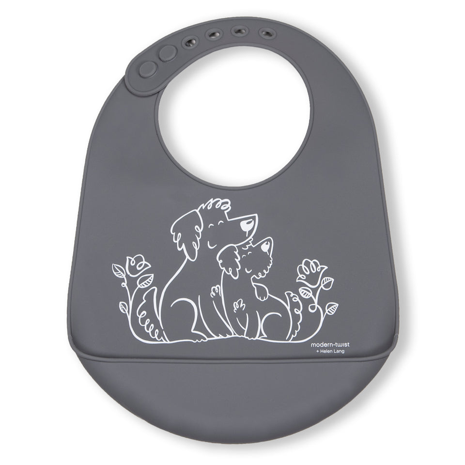 Bucket Bib : Puppy Love - Fuzzy Gray