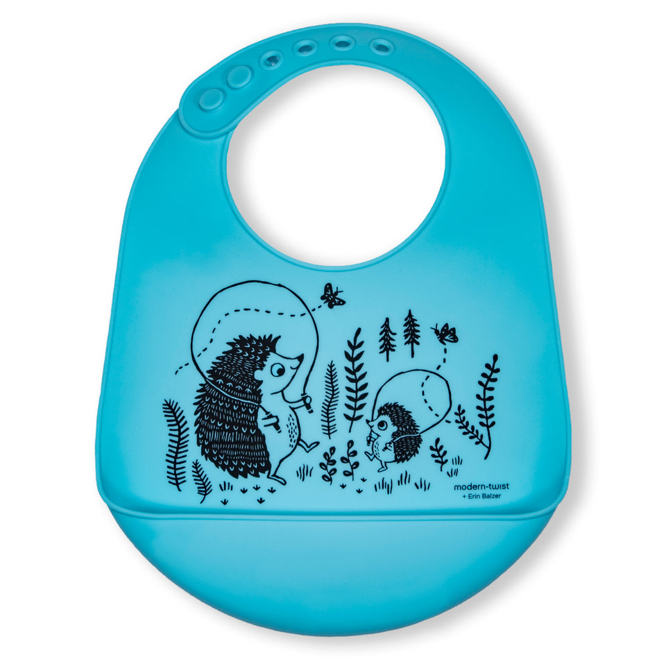 Bucket Bib : Hedgehog Family - Cornflower