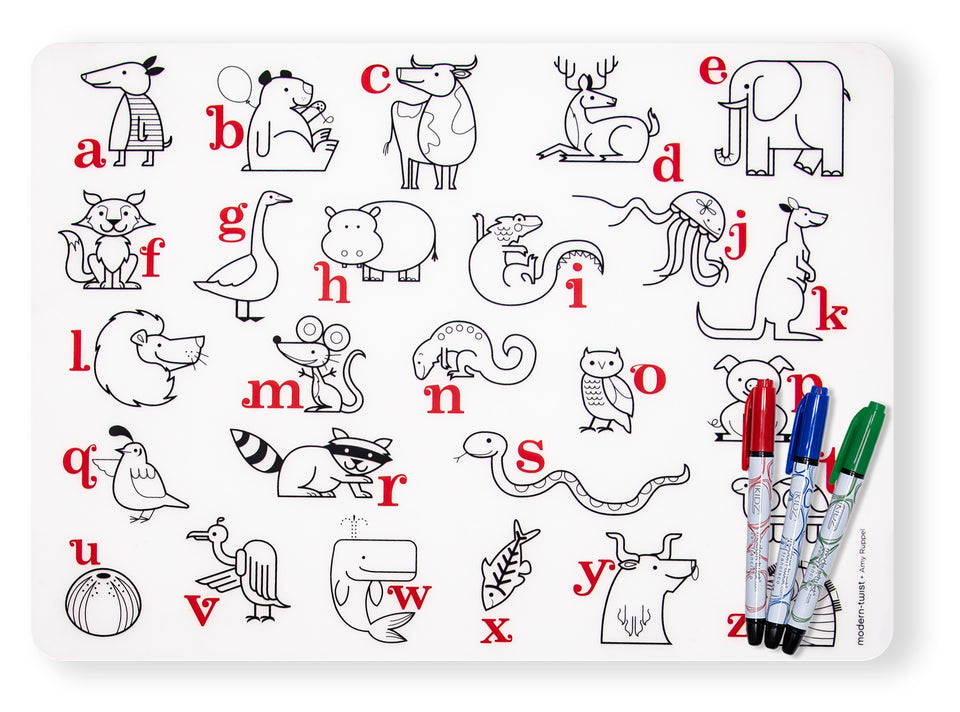 Mark-Mat Set : Alphabet Animals + Markers