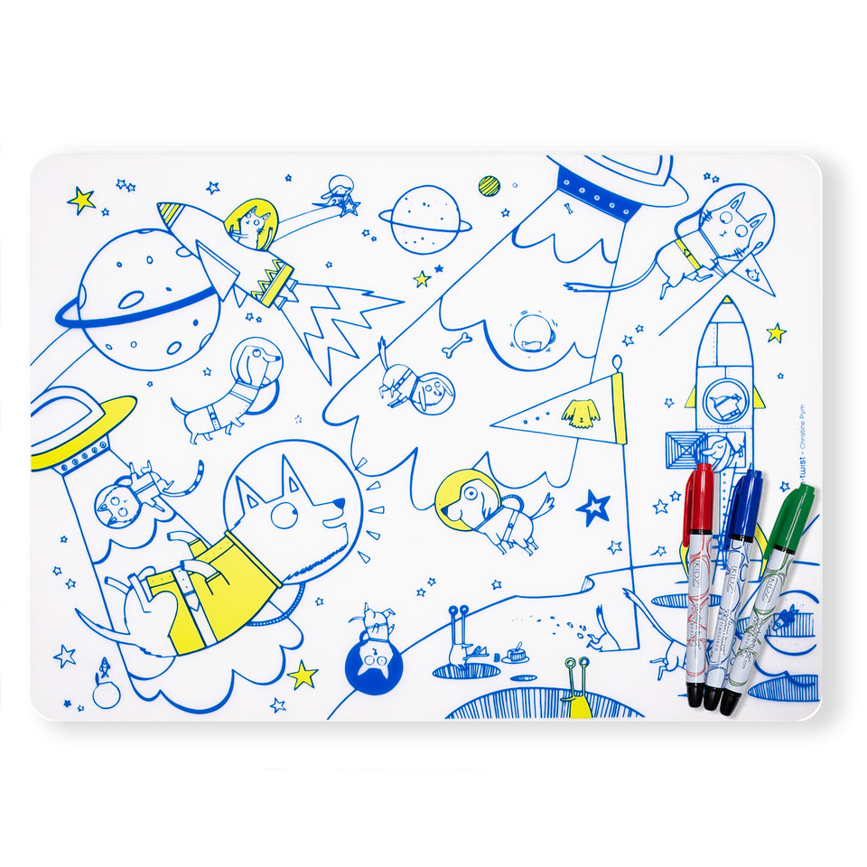 Mark-Mat Set : Space Animals + 3 Markers