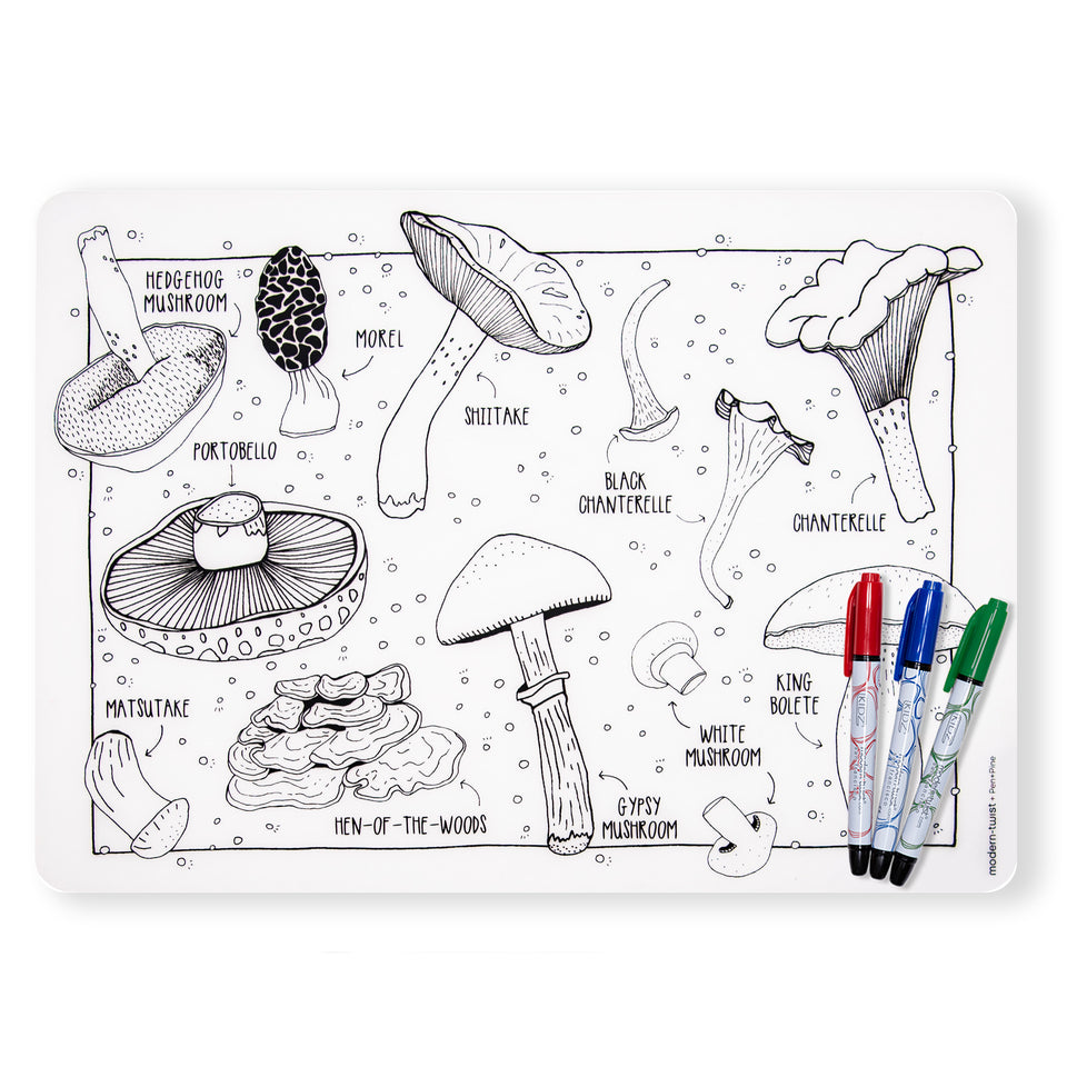 Mark-Mat Set : Mighty Mushrooms + 3 Markers