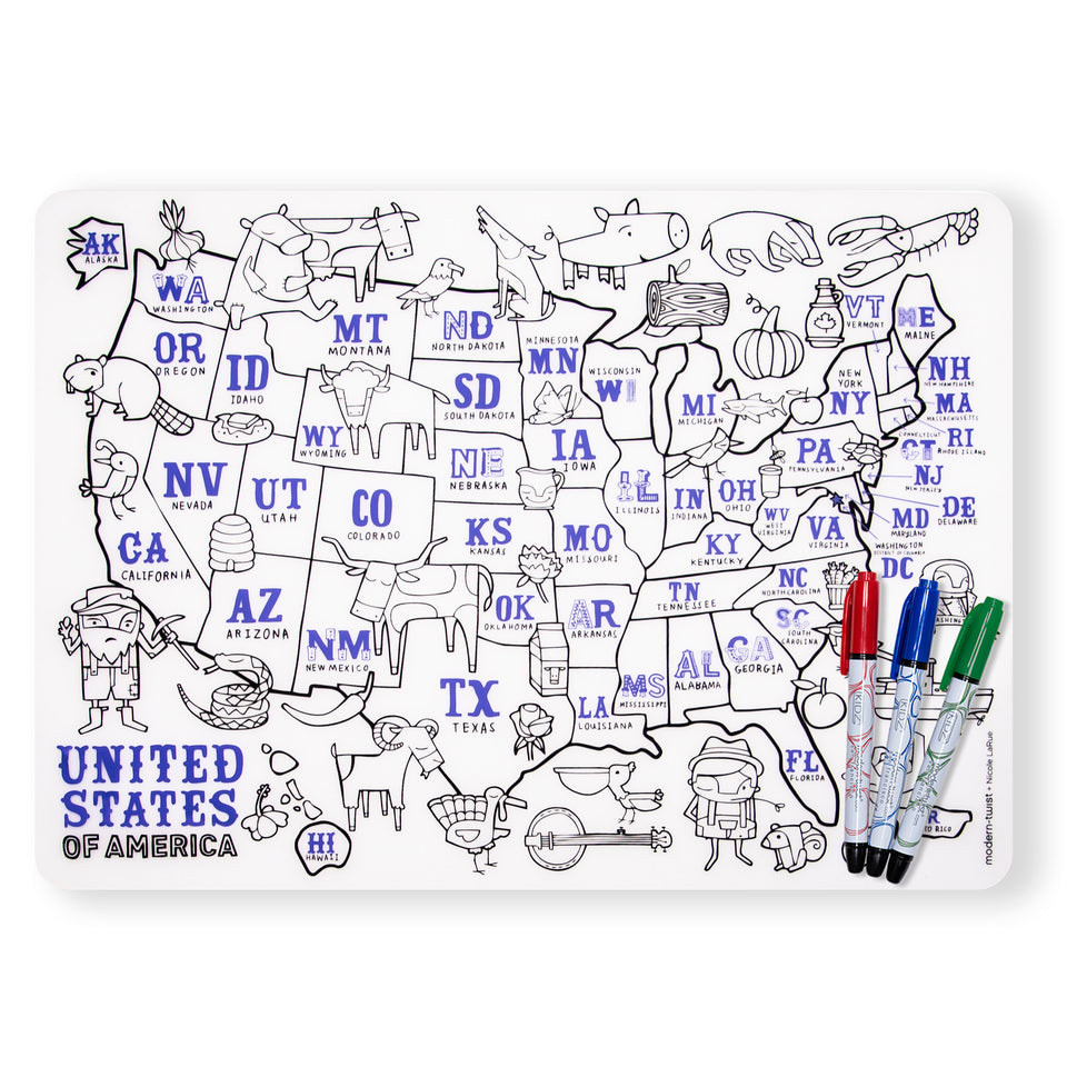 Mark-Mat Set : US Map + 3 Markers