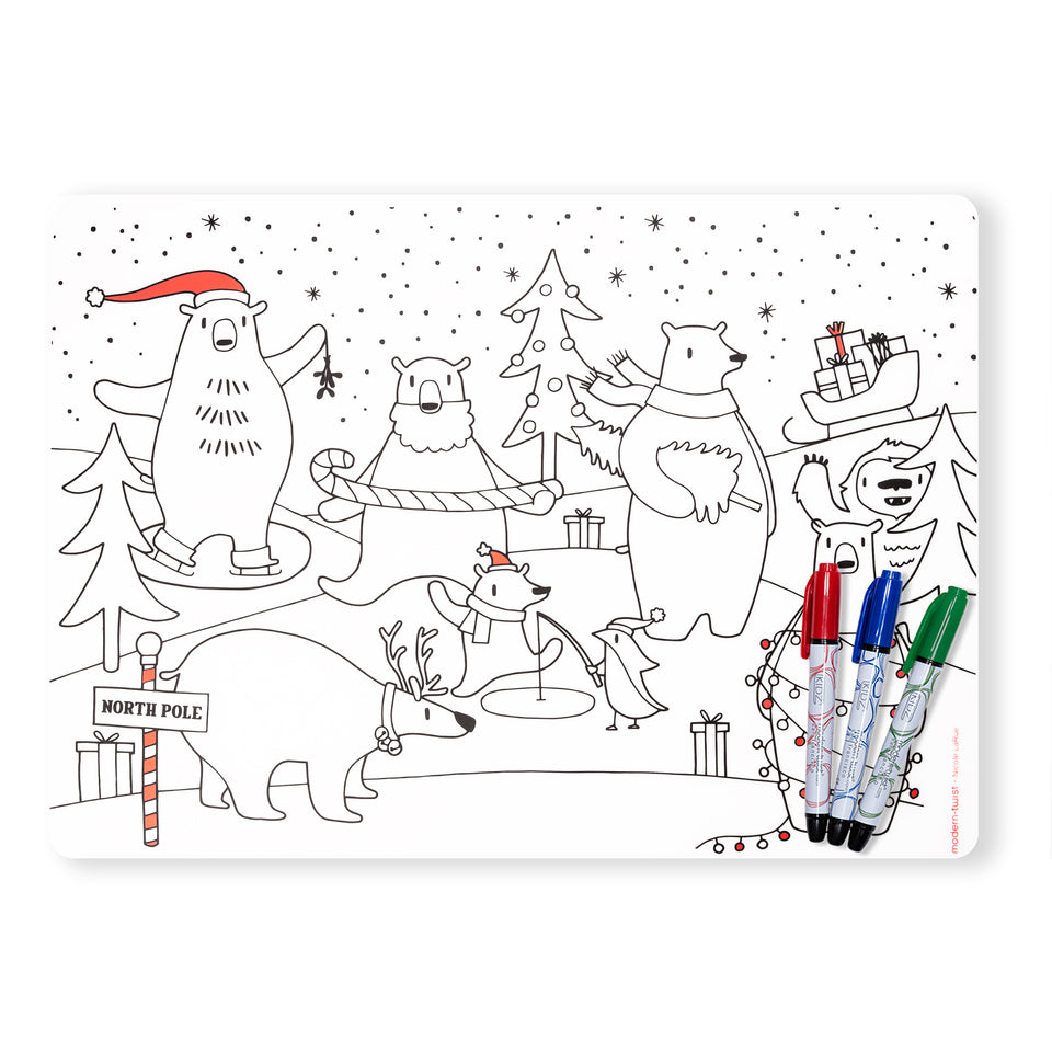 Mark-Mat Set: Holiday Polar Bear Party + 3 Markers