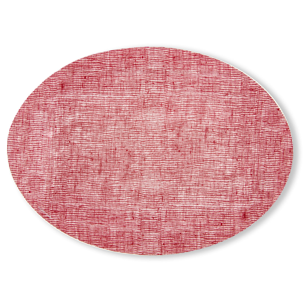 Placemat Oval : Linen - Cranberry