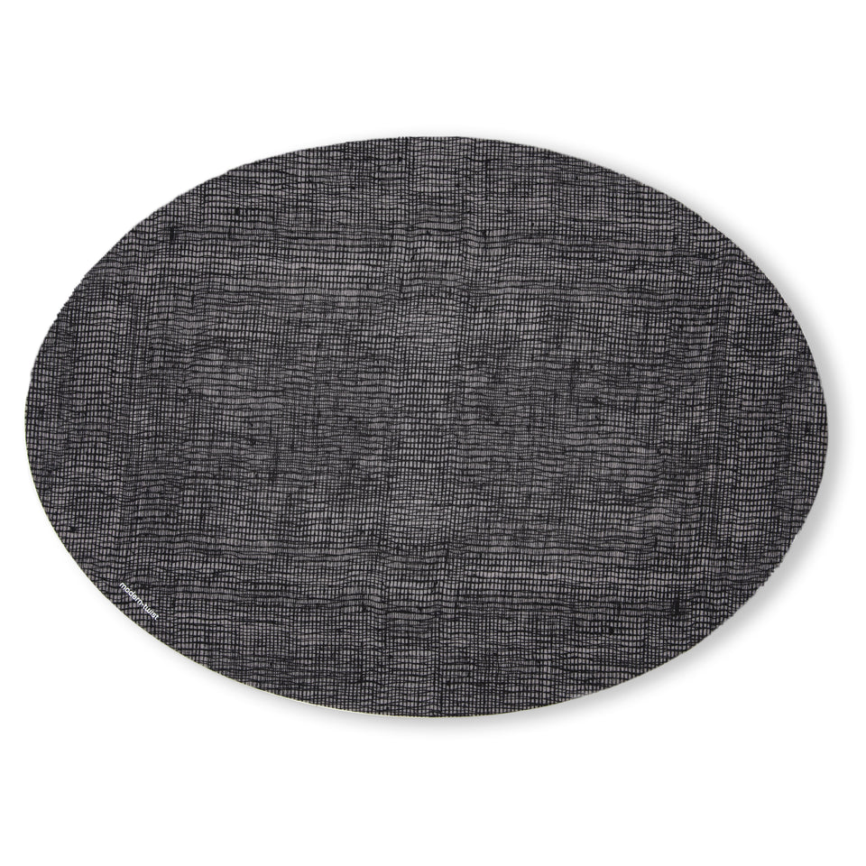 Placemat Oval : Linen - Black
