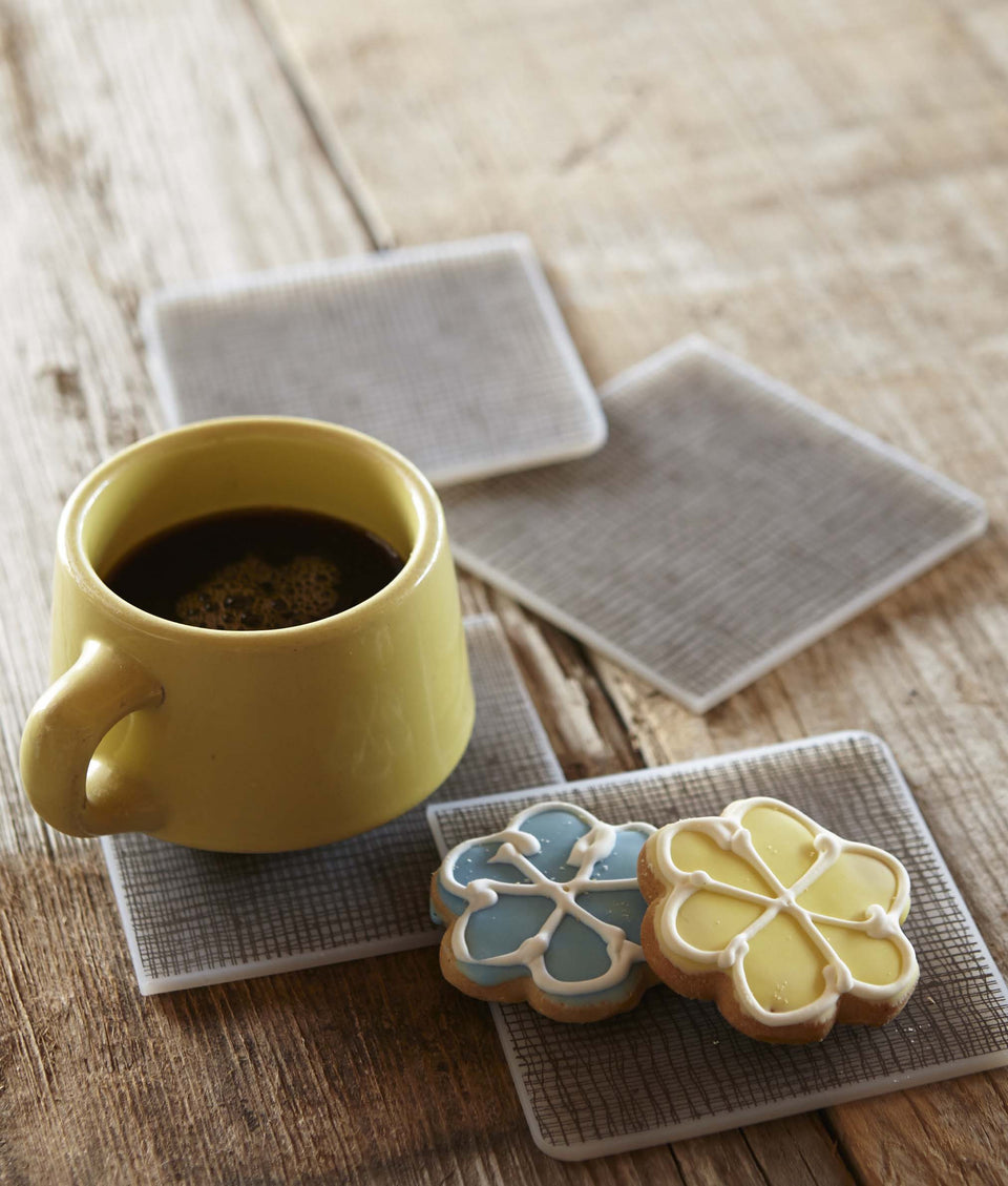 Coasters : Linen - Chocolate Set of 4
