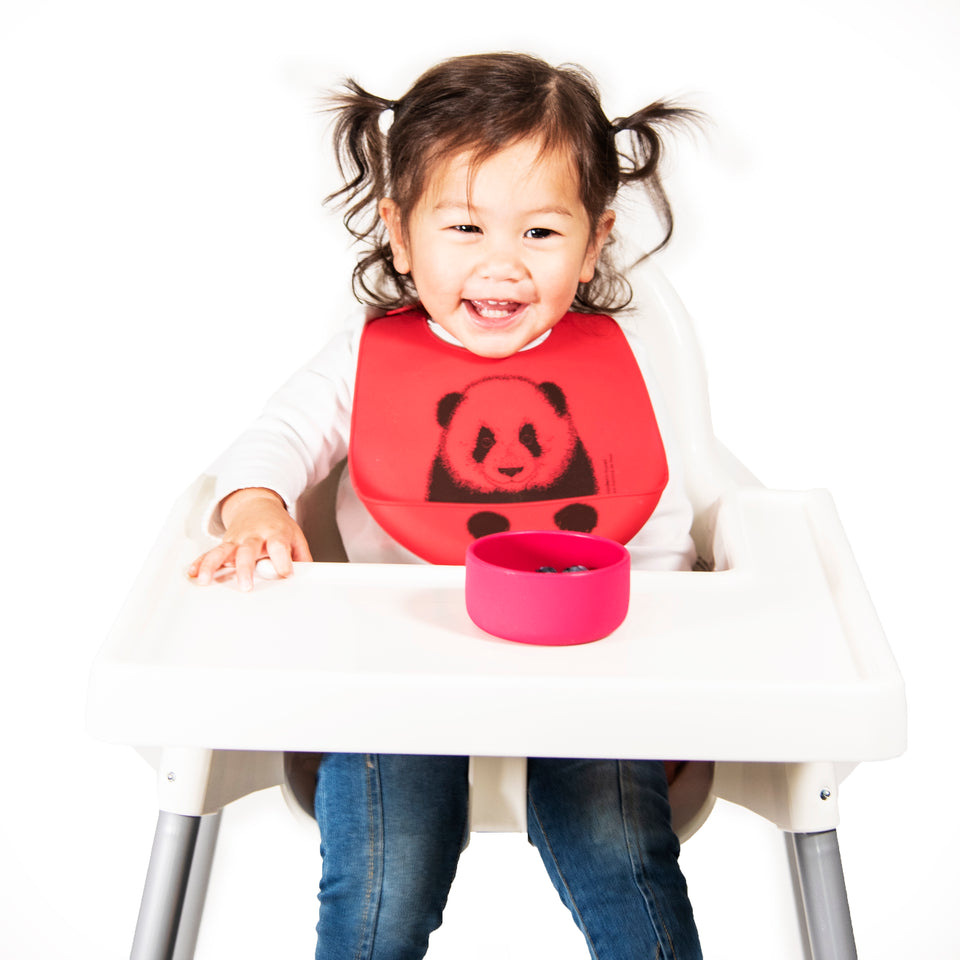 Bucket Bib : Peeking Panda - Lucky Red