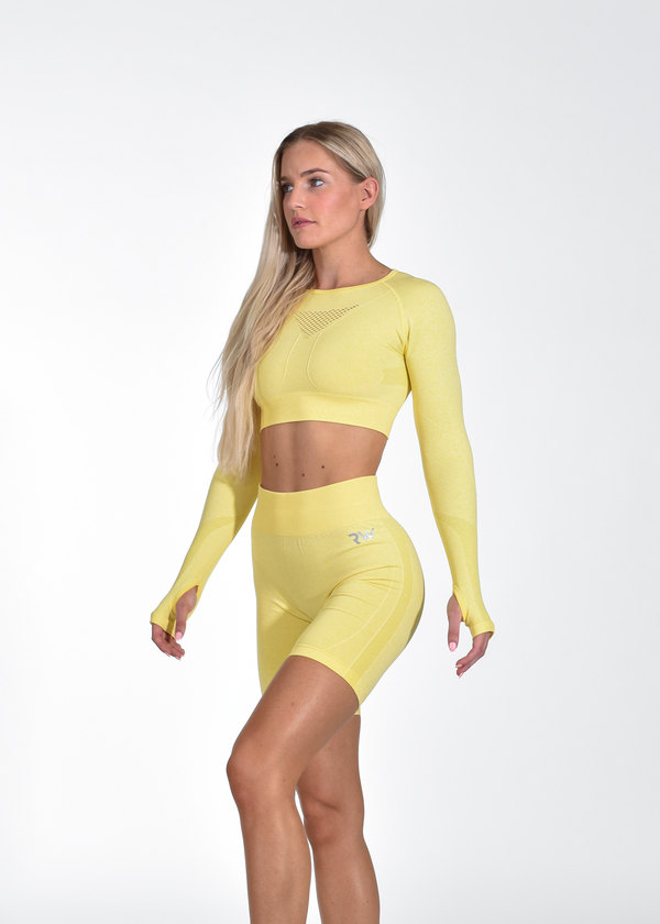 VITAL SEAMLESS LONG SLEEVE CROP - YELLOW
