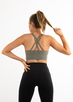 Load image into Gallery viewer, AGILITY SPORTS BRA - KHAKI