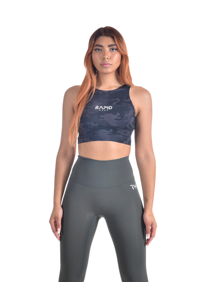 COMPRESS AND COMPACT SPORTS BRA - CAMO