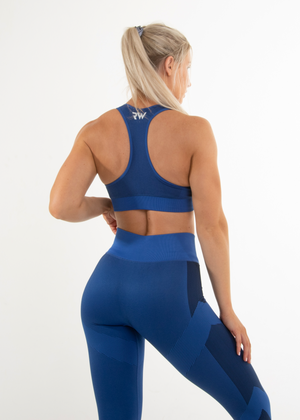 Load image into Gallery viewer, SEAMLESS FORCE SPORTS BRA - DEEP BLUE