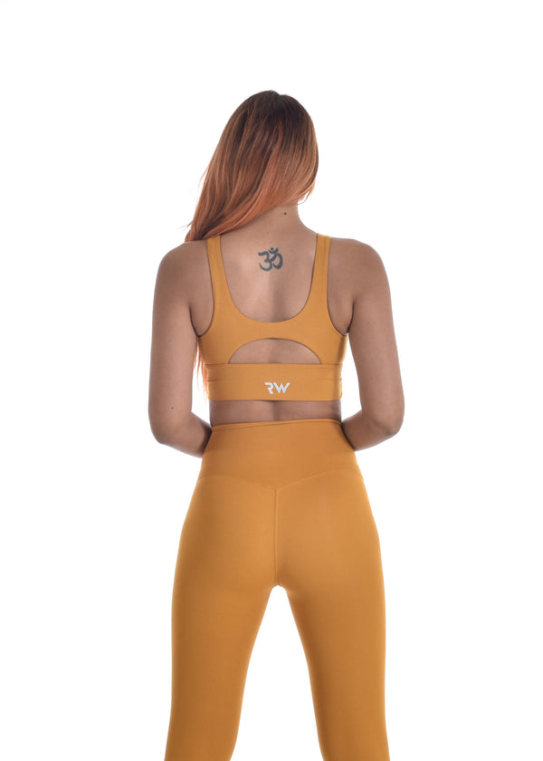 COMPRESS AND COMPACT SPORTS BRA - MUSTARD