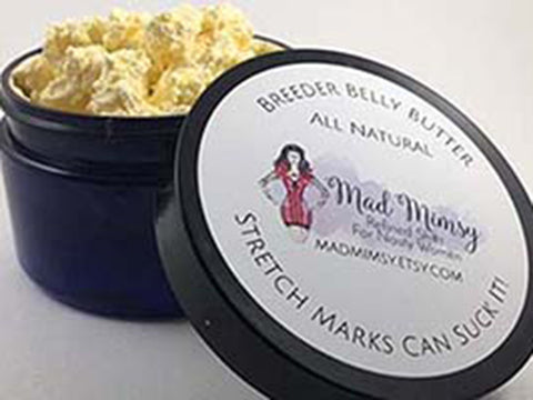 Breeder Belly Butter Stretch Marks Can Suck It! This balm helps prevent and eliminate stretch marks