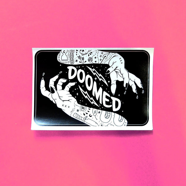 doomed gothic magic black and white sticker with rounded edges