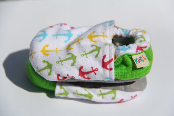 Flannel Multi Color Anchors Soft Sole Baby Shoes