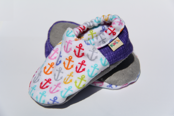 Mini Flannel Anchors Soft Sole Baby Shoes