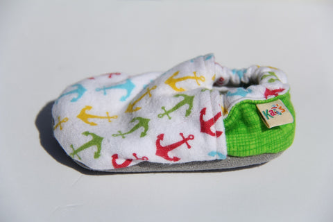 Thelma Jean's Flannel Multi Color Anchors Soft Sole Baby Shoes