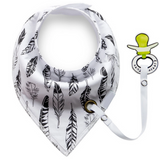 Baby Bandana Bib Set, 2 Pack- Triangles and Feathers