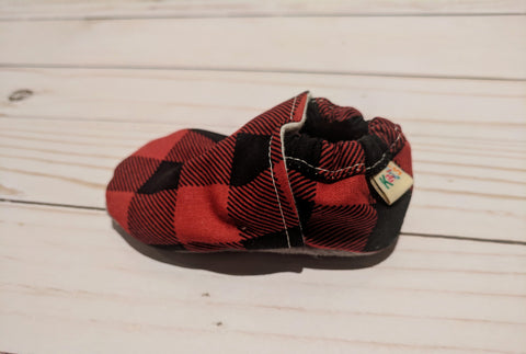 Trooper's Buffalo Plaid Soft Sole Baby Shoes