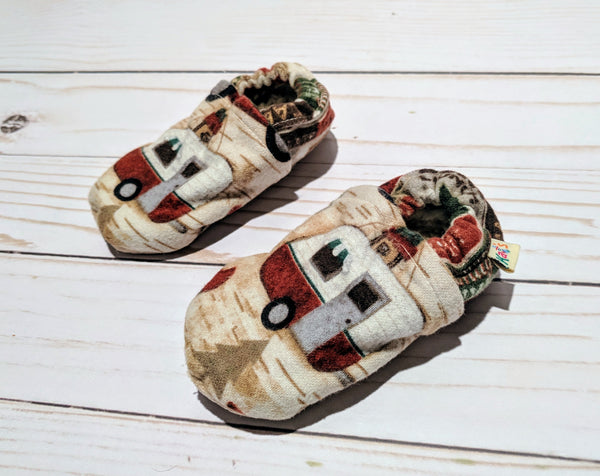 Happy Camper Flannel Soft Sole Baby Shoes