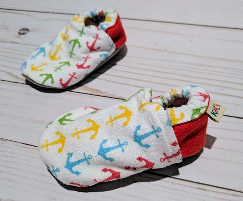 Red Anchor Flannel Soft Sole Baby Shoes