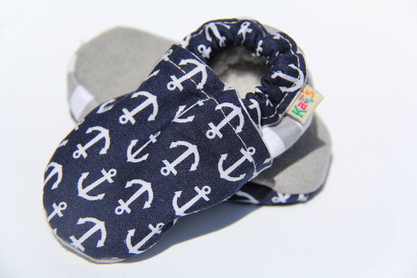 Navy Blue Anchors Soft Sole Baby Shoes