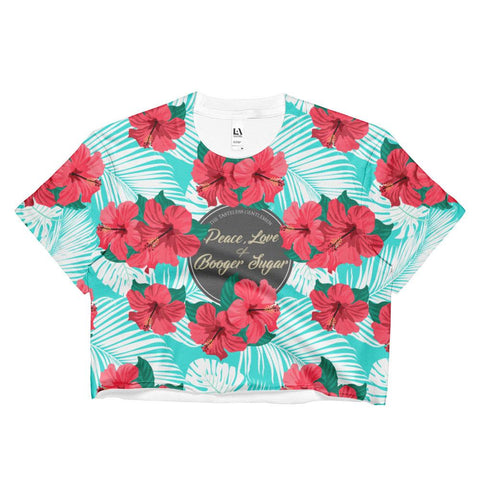 Peace, Love & Booger Sugar All Print Ladies Crop Top
