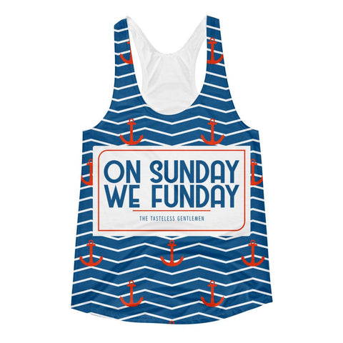 On Sunday We Funday All Over Print Women's Racerback Tank