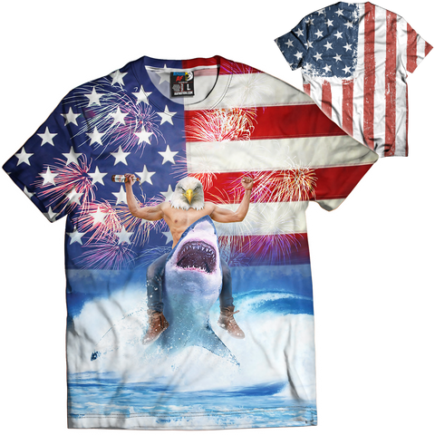 American Eagle Riding Shark For America