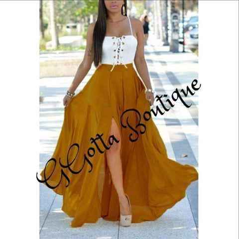 GGotta Shiyleen sunflower yellow full flowing dress