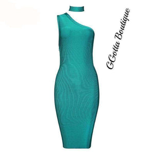 GGotta's  New Free Shipping! Elegant Choker Aqua Blue Bandage Dress